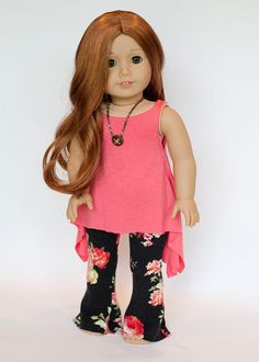 Coral Twirly Tunic and Wide Leg Yoga Pants for AG dolls by EverydayDollwear on Etsy  $24.00