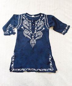 Look at this #zulilyfind! Boho Chic by Alejandra Kearl Navy & White Embroidered Silk Dress - Infant, Toddler & Girls by Boho Chic by Alejandra Kearl #zulilyfinds