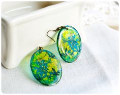 Resin Transparent Earrings green stained glass
