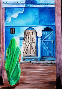 Gema Silva Mujer India de verde óleo sobre tela de 60 x 86 cms ORIGINAL a partir de foto