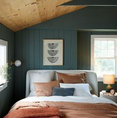 WEEKEND UPSTATE, dark green with a hint of blue paint color by Backdrop. Entryway Furniture, Furniture Decor, Bedroom Furniture, Home Bedroom, Master Bedroom, Bedrooms, Bedroom Inspo, Bedroom Inspiration, Bedroom Wall