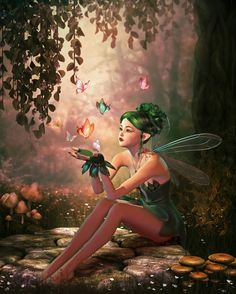 CG Fairy or pixie with butterflies (though they look a bit like fairy fire)