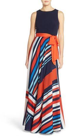 Women's Eliza J Jersey & Stripe Crepe De Chine Maxi Dress