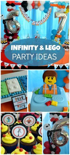 Two fun boy birthday themes in one!  Lego and Disney Infinity ideas with cake, cookies and balloons for both!  See more party ideas at CatchMyParty.com!