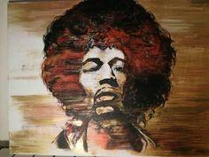 Jimi Hendrix,original,gold red and orange, guitarist,rock and roll legend, famous,handmade,canvas,acrylic,musician, guitar,portrait, pop art