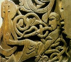 Norse wood carving on the door posts in Hylestad church Setesdal Norway. From the Volsunga Saga
