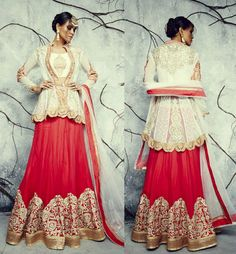 Red and white combination lehenga is now available!! Call/whatsapp +919600639563 for booking Happy shopping y'all :)