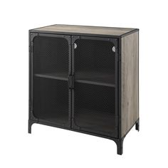 Manor Park 30 inch Urban Industrial Wood and Metal Storage TV Console Accent Cabinet with Mesh Doors - Grey Wash, Gray Industrial Chic Style, Urban Industrial, Industrial Living, Industrial Furniture, Vintage Industrial, Metal Mesh, Wood And Metal, Metal Doors, Tempered Glass Door