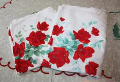 Roses Galore: Vintage Cotton Printed Stained by FelicesFinds