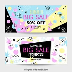 Summer sale banners with memphis elemets Free Vector