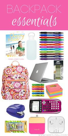 School supplies list college life tips. backpack essentials for the college student! College School Supplies, College Hacks, School Hacks, School Tips, Middle School Supplies, School Goals, College Years, College Life, Dorm Life