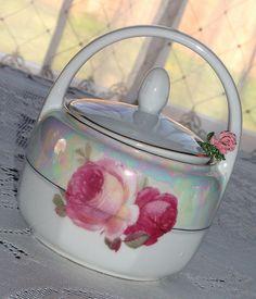 Vintage rose jam jar