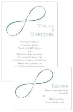 Infinity themed wedding invitation with free respond postcard. #affordablewedding #saveyourbudget