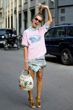 pink tee + those shoes (natalie joos) pulling a pony out