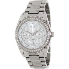 Armani Exchange Ladies Crystal Accents Silver Stainless Steel Dial watch in Jewellery & Watches Armani Exchange Fashion, Armani Watches For Women, Fashion Watches, Michael Kors Watch, Chronograph, Stainless Steel, Crystals, Lady, Silver