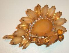 Vintage Brooch Juliana Frosted Pale Glass Stones Borealis Rhinestones | eBay