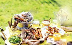 Kip-garnalenspiesen met aïoli Fish And Meat, Fish And Seafood, Teppanyaki, Grilling, Bbq, Pork, Cheese, Aioli, Healthy