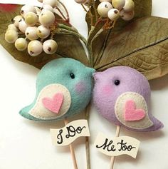 LOVE BIRDS Wedding Cake Topper Name Personalized and Custom Color (listing of 2 birds) - Wedding Decor, Party Favors Bride Friendship Gift Wedding Photo Props, Wedding Decor, Love Birds Wedding, Personalized Cake Toppers, Felt Decorations, Colorful Cakes, Friendship Gifts, Wedding Cake Toppers, Wedding Cakes