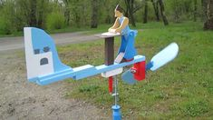 """Wind-driven wooden whirligig """"Baking a Pie"""" or """"Rolling out a Pie"""". Project www.WindWhirligigs.com Wood For Sale, Handmade Wooden, Making Out, Wood Projects, Rolls, Baking, Pie, Automata, Toys"""