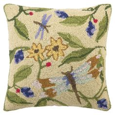 Showcasing a hand-hooked dragonfly and floral motif, this wool and cotton pillow adds garden inspiration to your decor.  Product:
