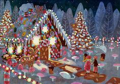 A fairy tale illustration. Hänsel and Gretel at the witches Gingerbread House. I'm not really happy with it, but I thought it's making at least a nice christmassy picture(though it has not much to do...
