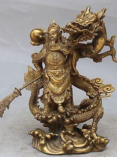 Antiques China 2017 9 China Silver Bronze Guan Gong Dragon Sword Door Guardian Statue