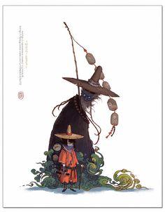 Yi Wang | art, illustration, hat, layers, silhouette, wizard, magic