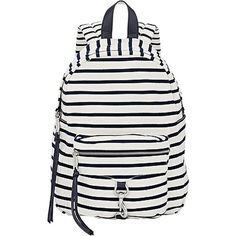 Pre-owned Rebecca Minkoff Natural Navy Stripe Canvas Mab Backpack (£130) ❤ liked on Polyvore featuring bags, backpacks, canvas backpack, canvas rucksack, striped canvas backpack, military rucksack and white backpack