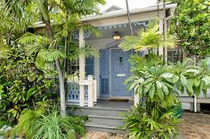 Caribbean cottage style porch at the 'Pavilion Villa', Key West, FL Beach Cottage Style, Romantic Cottage, Beach Cottage Decor, Coastal Cottage, Coastal Style, Coastal Decor, Cottage Ideas, Cozy Cottage, Miami Beach