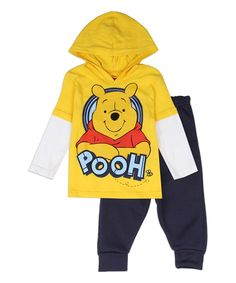 Disney Winnie The Pooh Yellow Jersey Pullover Hooded Top And Fleece Pants Sizes 12 Months 18 Months 24 Months Made From Pants Polyester Top Cotton Label Disney Winnie The Pooh Officially Licensed By Disney Winnie The Pooh Baby Clothes Toddler Outfits, Baby Boy Outfits, Kids Outfits, Winter Baby Boy, Boys And Girls Clothes, Disney Outfits, Disney Clothes, Fleece Pants, Future Baby