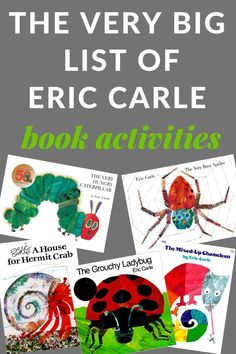 A Very Big List of Must Have Book Activities Eric Carle Activities for some of his most popular books. You'll find book activities for The Very Hungry Caterpillar, The Very Busy Spider, A House for Hermit Crab, The Mixed-Up Chameleon and so many more. Mixed Up Chameleon, The Very Hungry Caterpillar Activities, Caterpillar Book, The Very Busy Spider, Preschool Activities, Toddler Book Activities, Insect Activities, Preschool Schedule, Preschool Programs