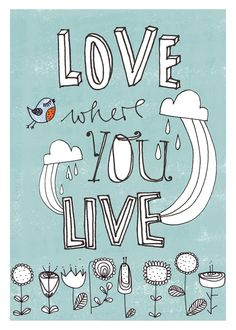 Postkarte 'love where you live! von Iloveyoulaugh // post card 'love where you live! by Iloveyoulaugh