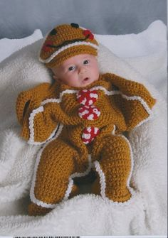 Gingerbread bunting/ cocoon & hat set Made to by MillCityCrochet, $60.00