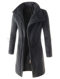 Mens Slim Fit High Neck Unbalance Zipper Front Pocket Long Sleeve Coat