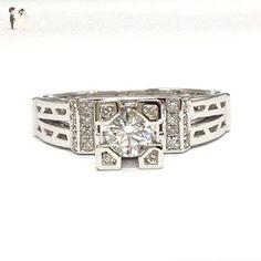 Round Moissanite Engagement Ring Pave Diamond Wedding 18K White Gold 5mm, Eiffel Tower Style - Wedding and engagement rings (*Amazon Partner-Link)