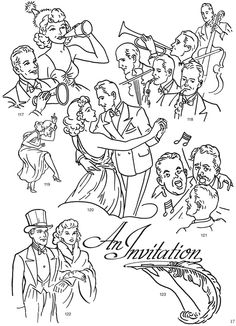 FREE Vintage New Years images - Dover free clip art sample (From: Authentic Spot Illustrations CD-ROM and Book: 300 Vector Files). Hand Embroidery Flowers, Embroidery Ideas, New Year Images, Dover Publications, Stencil Art, Coloring Book Pages, Drawing Tutorials, Printable Paper, Digital Stamps