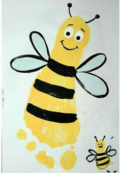 Bee foot print and finger print / Allie - Kinderspielzimmer Grandparents Day Crafts, Fathers Day Crafts, Grandparent Gifts, Daycare Crafts, Bee Crafts, Preschool Crafts, Crafts For Kids, Arts And Crafts, Toddler Art