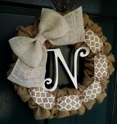 Burlap Wreath with Scalloped Burlap and white by SalemStudios
