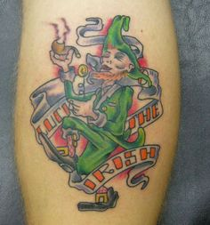 Cool leprechaun dude with a pipe and beer for Luck of the irish tattoos