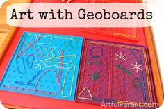 Geoboards for kids are educational, of course, but you can go beyond math and use them in creative ways. Here the geoboards are used for kids' art. Fun Learning Games, Art Activities For Kids, Preschool Art, Math Activities, Kids Learning, Math Art, Fun Math, Maths, Easy Art For Kids
