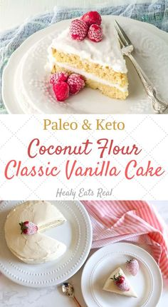 Classic Vanilla Coconut Flour Cake (Paleo & Keto)- This classic vanilla coconut flour cake is light, fluffy and delicately sweet. Its paleo, keto and the perfect healthy dessert for any occasion including birthdays, holidays and more! #coconutflour #cake #keto via @healyeatsreal