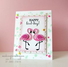 Card by Laura Sterckx. Reverse Confetti stamp set and coordinating Confetti Cuts: Fabulous Flamingo.