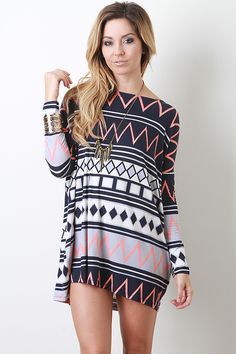 Mixed Pattern Long Sleeve Dress