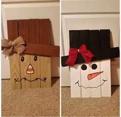 Reversible scarecrow/snowman for your front porch. What a cute easy decoration!