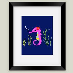 Fun Indie Art from BoomBoomPrints.com! https://www.boomboomprints.com/Product/mayleong/Little_Hawaiian_Seahorse/Framed_Art_Prints/11x14_Black_Frame_White_Matte_Print/