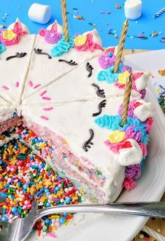 Unicorn Confetti Crispy Cake Is Filled With Sprinkles For A Fun Rainbow Surprise