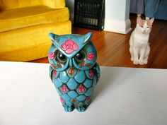 {the owl and the pussycat?} vintage turquoise w/ pink roses owl bank#Repin By:Pinterest++ for iPad#