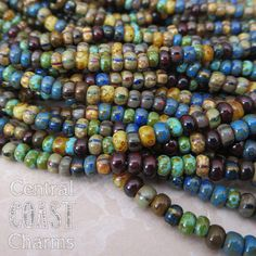 "Caribbean Summer - Aged Striped 6/0 Czech Glass Rocaille Seed Beads - 20"" strand - 4mm - Bohemian Mix Opaque Picasso - Central Coast Charms"