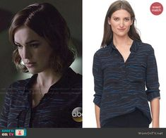 Jemma's black and blue tiger striped blouse on Agents of SHIELD.  Outfit Details: http://wornontv.net/47443/ #AgentsofSHIELD
