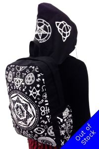 Banned Gothic Rucksack, Pentagram Hooded Backpack